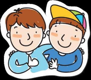 dois amigos vestindo roupas azul se encontram e se divertem juntos