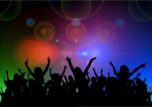 ilustração mostra um grupo de pessoas em uma boate dançando e se divertindo bastante.