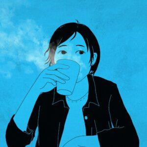 moça com um copo d'água pensa nas diferenças entre Much Many A Lot of e Very