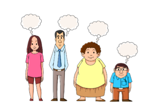 Um grupo de quatro pessoas e tamanhos diferentes aprendem sobre Much Many A Lot of e Very