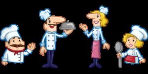 chefs de cozinha juntos apresentam o prato que irão oferecer ao seu cliente