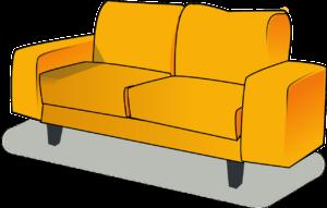 sofá amarelo usado para representar os movéis de uma casa e as 3 dicas para sair do nível básico de Inglês