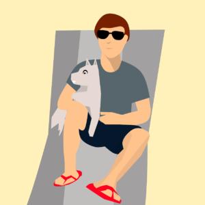 na praia com seu cachorro e VERBO TO BE EM 4 PASSOS