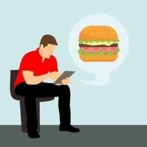 homem procura o hambúrguer usando Something Anything Nothing Everything
