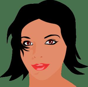 rosto de mulher simboliza Partes do Corpo em Inglês